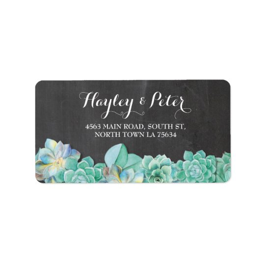Succulents Cream Elegant Chalk Address Labels