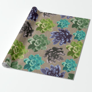 Succulents Faux Burlap Wrapping Paper