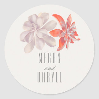 Succulents Floral Bouquet Wedding Round Sticker