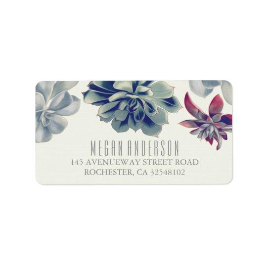 Succulents Floral Elegant Wedding Label