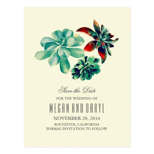 succulents floral romantic teal save the date postcard