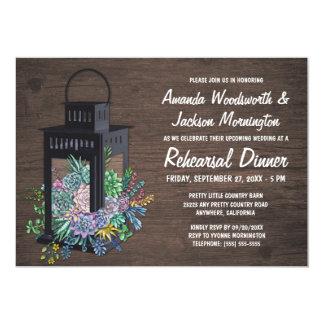Succulents + Lantern Rehearsal Dinner Invitations