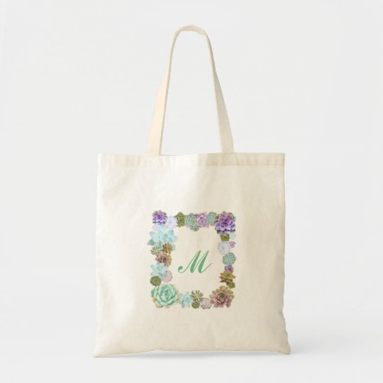 Succulents monogram tote bag