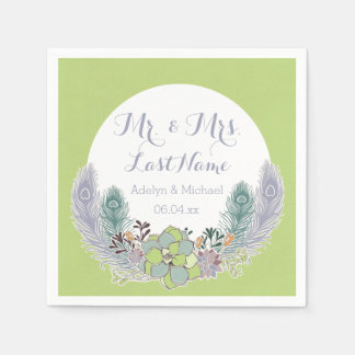 Succulents Peacock Feathers Wedding Paper Napkins
