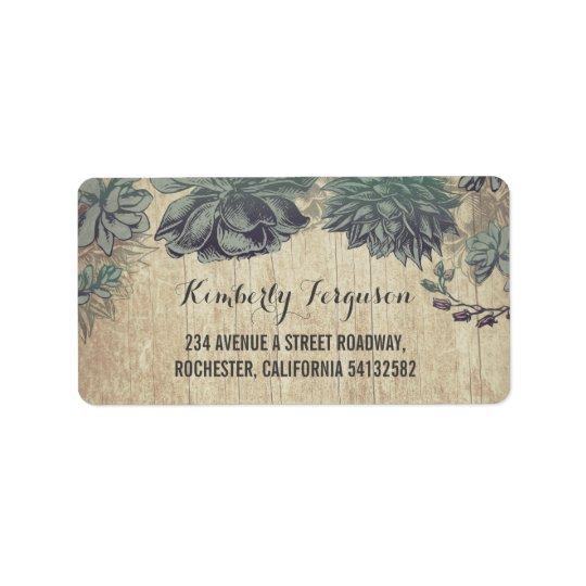Succulents Rustic Vintage Wedding Address Label