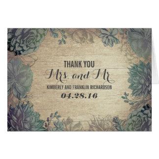 Succulents Rustic Wood Wedding Thank You Card