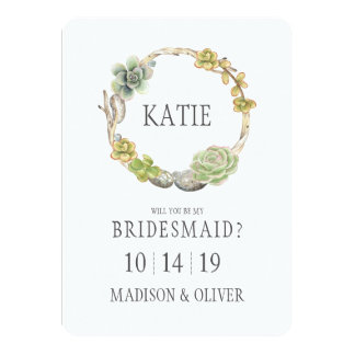 Succulents, Twigs and Stones | Bridesmaid Card