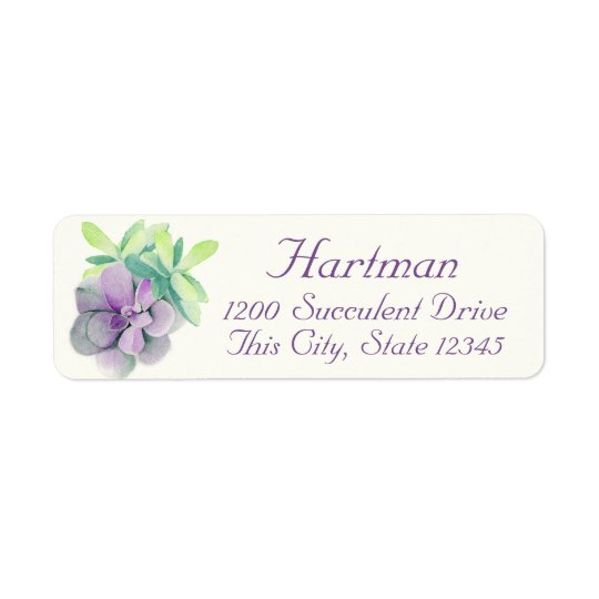 Succulents Watercolor Address