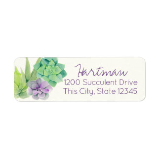 Succulents Watercolor Address Return Address Label