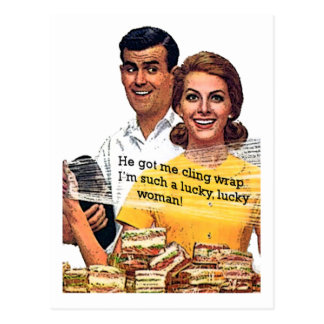 """Such a lucky woman"" Postcard"