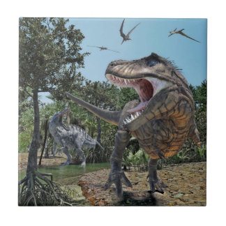 Suchomimus and Tyrannosaurus Rex Confrontation Small Square Tile