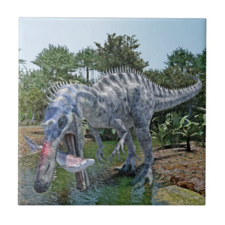 Suchomimus Dinosaur Eating a Shark in a Swamp Small Square Tile
