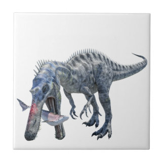 Suchomimus Dinosaur Eating a Shark Small Square Tile