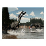 Suchomimus dinosaurs fishing fish and shark poster