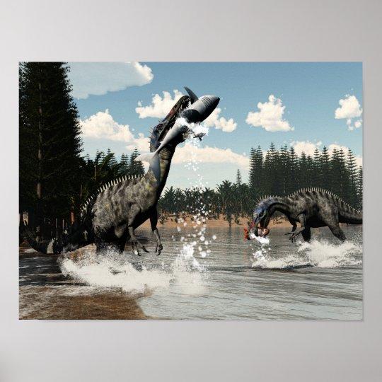 Suchomimus dinosaurs fishing fish and shark poster