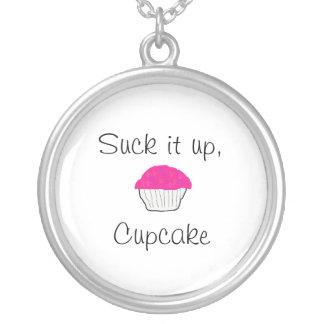 Suck it up Cupcake Round Pendant Necklace