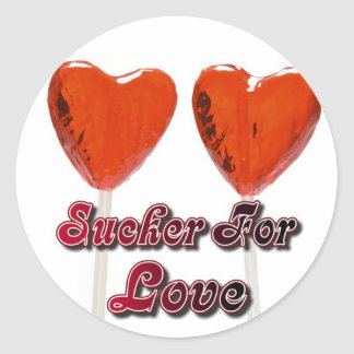 sucker for love classic round sticker