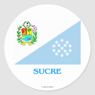 Sucre Flag with Name Round Stickers