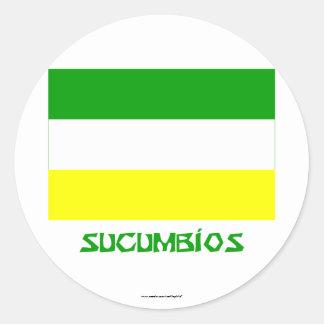 Sucumbíos flag with Name Round Sticker