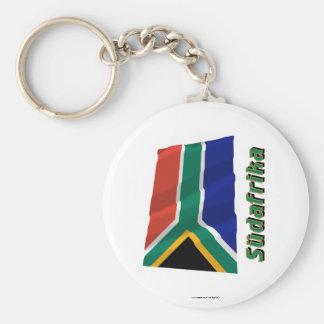 Südafrika Fliegende Flagge mit Namen Basic Round Button Key Ring