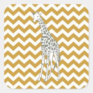 Sudan Brown Safari Chevron with Pop Art Giraffe Square Sticker