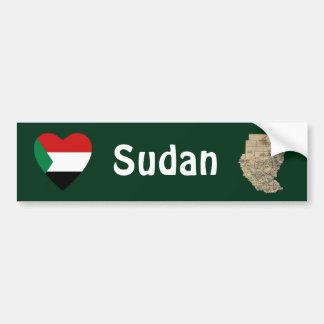 Sudan Flag Heart + Map Bumper Sticker