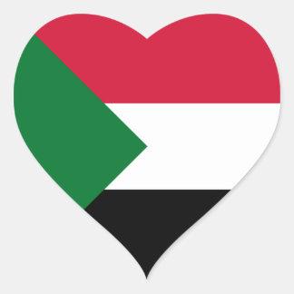 Sudan Flag Heart Sticker