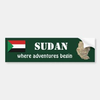Sudan Flag + Map Bumper Sticker Car Bumper Sticker