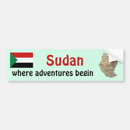 Sudan Flag + Map Bumper Sticker