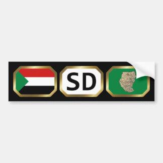 Sudan Flag Map Code Bumper Sticker