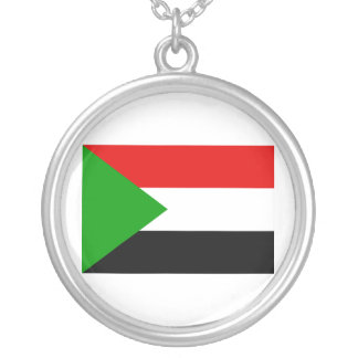 Sudan Flag Silver Plated Necklace