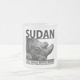 Sudan: Last Male White Rhino Frosted Glass Coffee Mug