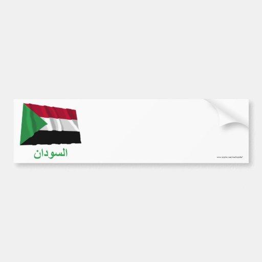 Sudan Waving Flag with Name in Arabic Bumper Sticker