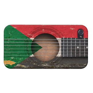 Sudanese Flag on Old Acoustic Guitar iPhone 4 Case