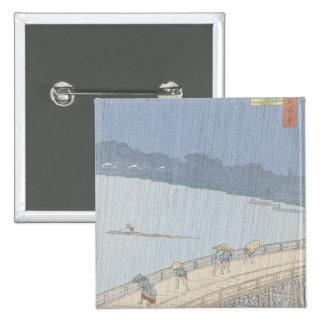 Sudden Shower on Ohashi Bridge at Ataka 15 Cm Square Badge