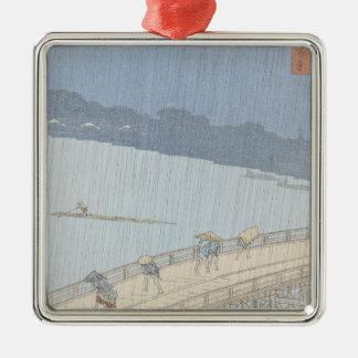 Sudden Shower on Ohashi Bridge at Ataka Christmas Ornament