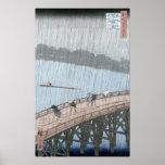 Sudden Shower over Shin-Ohashi Bridge and Poster