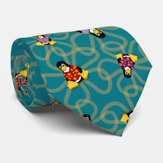 Suddenly Penguins Tie (Turquoise)