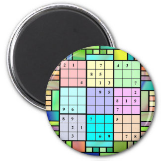 Sudoku Stained Glass Design 6 Cm Round Magnet