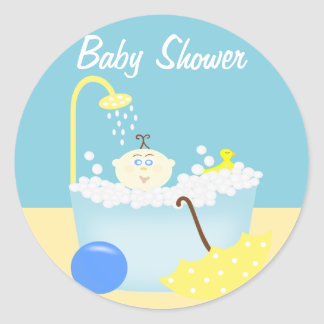 Sudsy Bathtub Blue Baby Shower Sticker