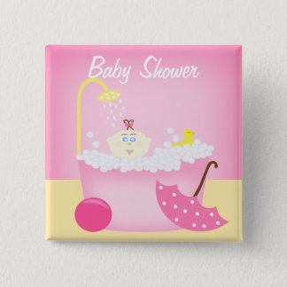 Sudsy Bathtub Pink Baby Shower Pin