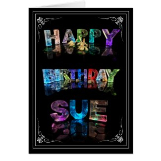 Sue - Name in Lights greeting card (Photo)