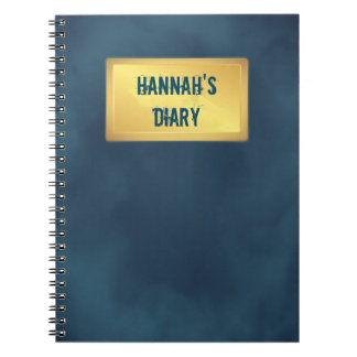 suede effect diary with gold plaque custom name notebooks