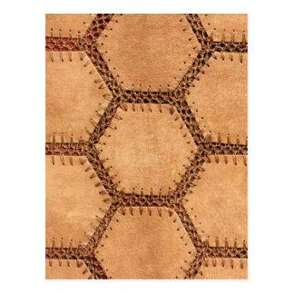 Suede fabric hexagon tan soft pattern postcard
