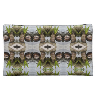 Suede Medium Custom Tropical Palm Cosmetic Bag
