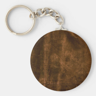 Suede Seam Look of Leather Basic Round Button Key Ring