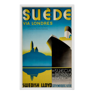 Suede Sweden Vintage Ship Advertisement Poster