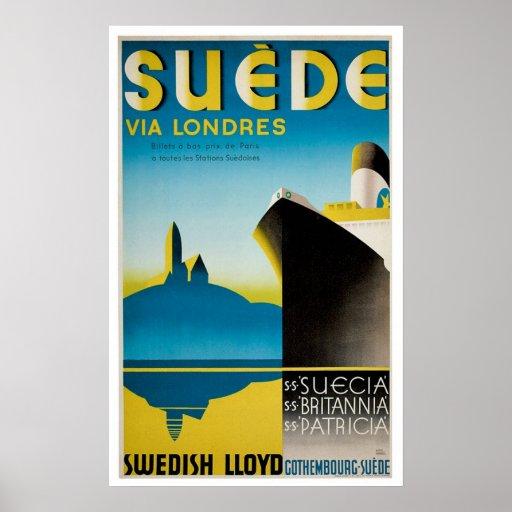 Suede Sweden Vintage Ship Advertisement Posters