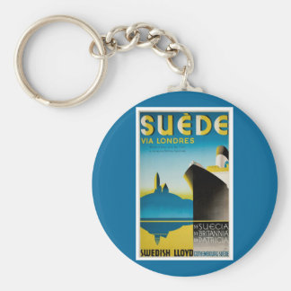 Suede via Londres Basic Round Button Key Ring