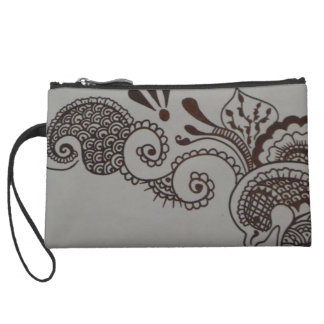 sueded mini clutch with henna design wristlet purse